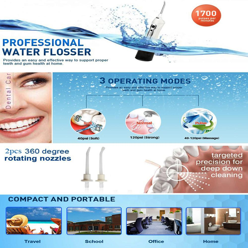 3-Mode Rechargeable IPX7 Waterproof High Capacity Water Flosser Professional Rechargeable Dental Oral Irrigator